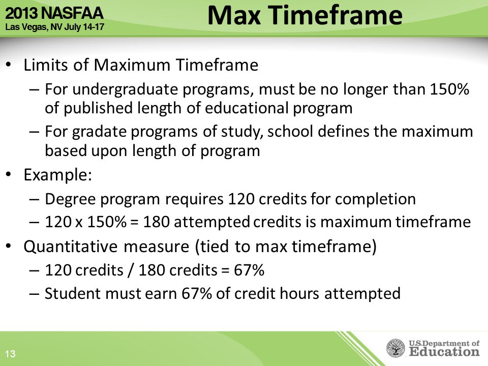 Max Timeframe Limits of Maximum Timeframe – For undergraduate programs, must be no longer than 150% of published length of educational program – For gradate programs of study, school defines the maximum based upon length of program Example: – Degree program requires 120 credits for completion – 120 x 150% = 180 attempted credits is maximum timeframe Quantitative measure (tied to max timeframe) – 120 credits / 180 credits = 67% – Student must earn 67% of credit hours attempted 13