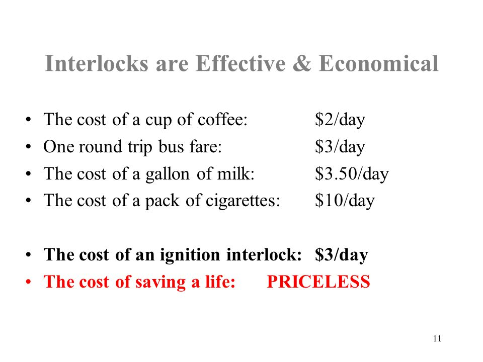 Interlocks are Effective & Economical The cost of a cup of coffee:$2/day One round trip bus fare:$3/day The cost of a gallon of milk:$3.50/day The cost of a pack of cigarettes: $10/day The cost of an ignition interlock:$3/day The cost of saving a life: PRICELESS 11