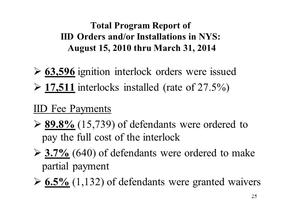 Total Program Report of IID Orders and/or Installations in NYS: August 15, 2010 thru March 31, 2014 25  63,596 ignition interlock orders were issued