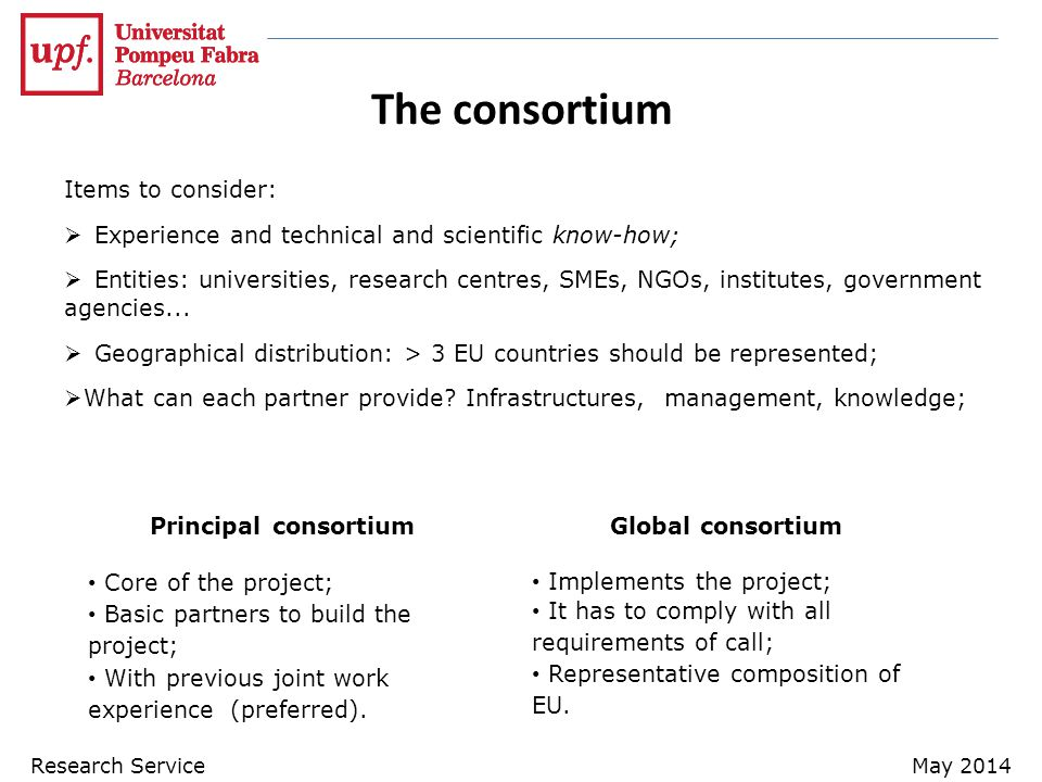 The consortium Items to consider:  Experience and technical and scientific know-how;  Entities: universities, research centres, SMEs, NGOs, institutes, government agencies...