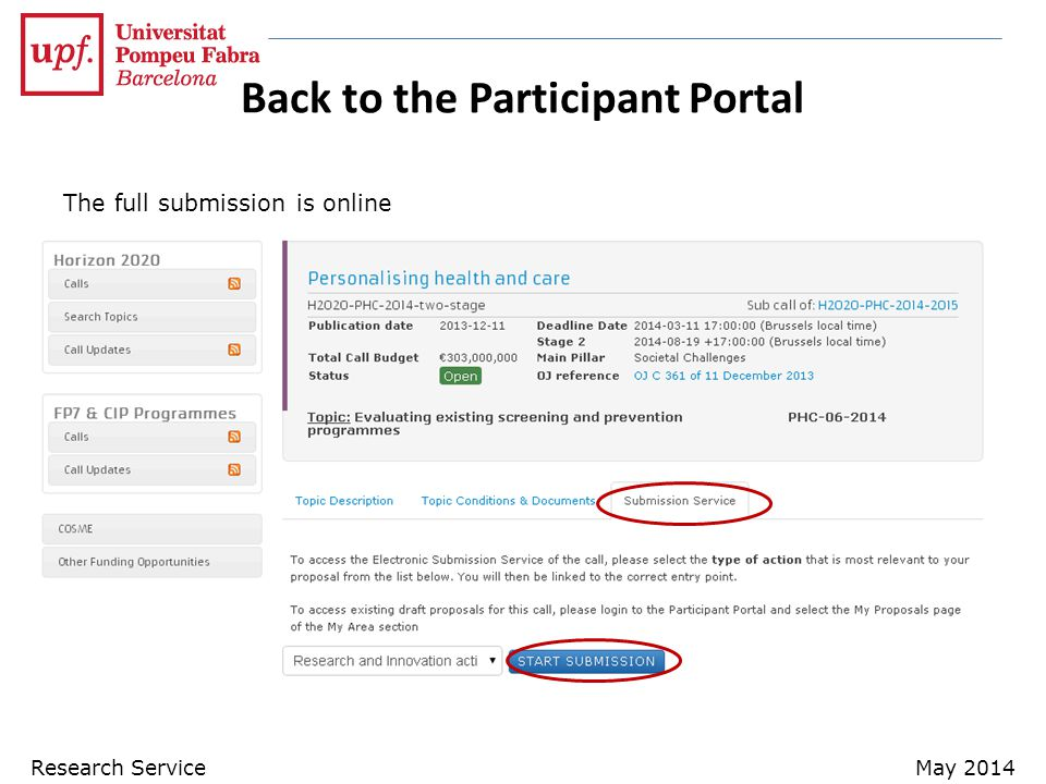 Back to the Participant Portal The full submission is online Research ServiceMay 2014