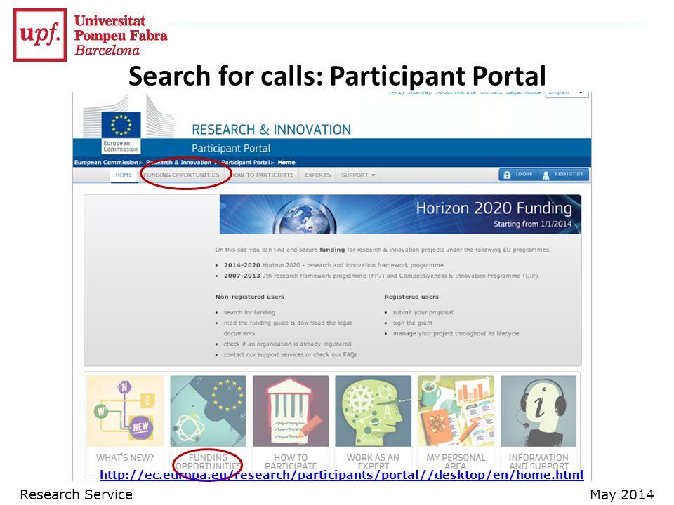Search for calls: Participant Portal http://ec.europa.eu/research/participants/portal//desktop/en/home.html Research ServiceMay 2014