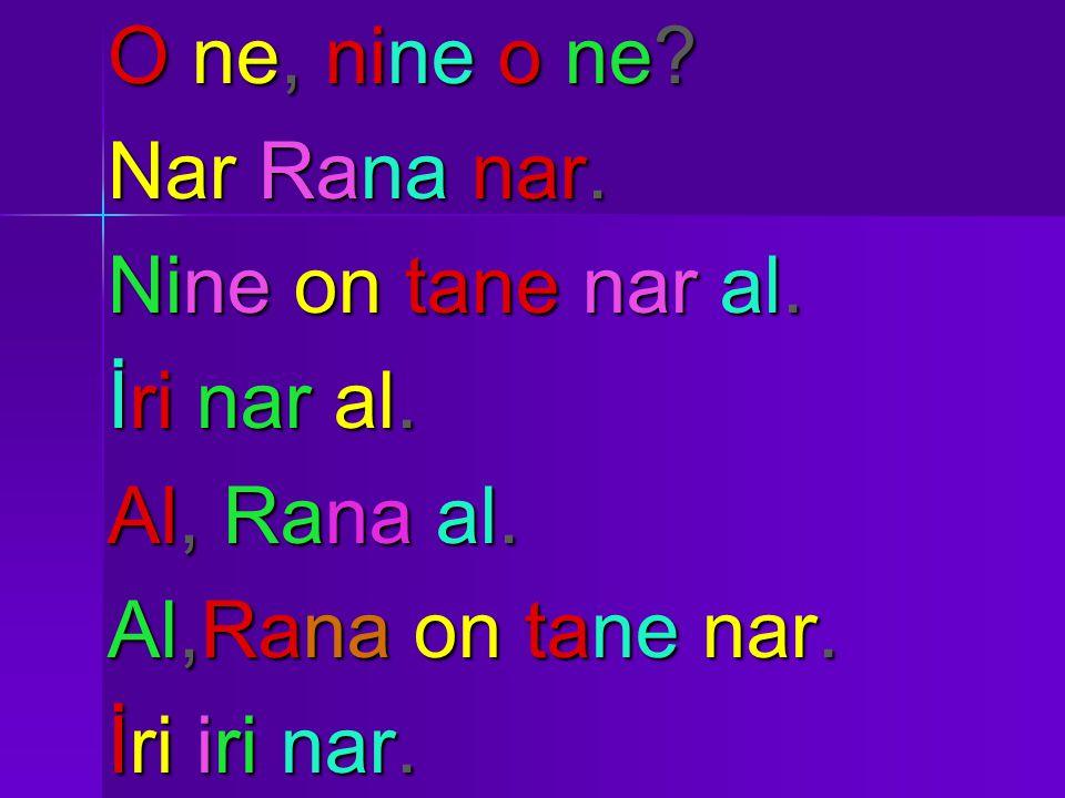 O ne, nine o ne. Nar Rana nar. Nine on tane nar al.