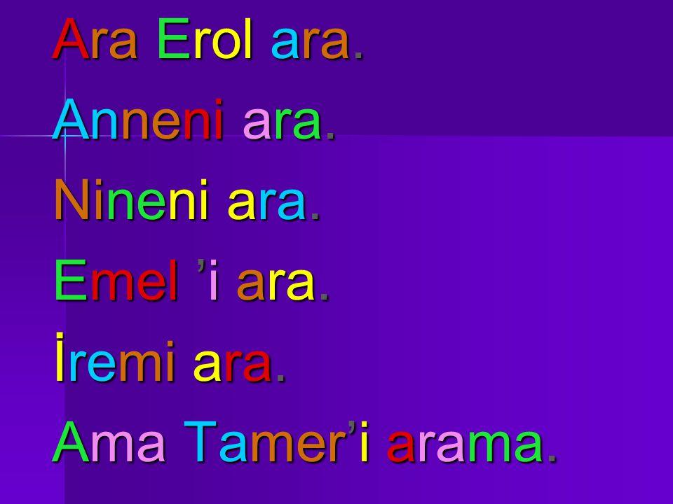 Ara Erol ara. Anneni ara. Nineni ara. Emel 'i ara. İremi ara. Ama Tamer'i arama.
