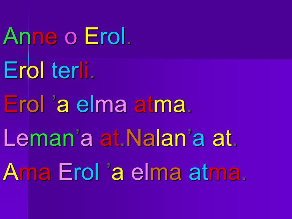 Anne o Erol. Erol terli. Erol 'a elma atma. Leman'a at.Nalan'a at. Ama Erol 'a elma atma.