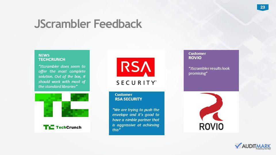 """23 Customer """"JScrambler results look promising"""" ROVIO JScrambler Feedback Customer"""