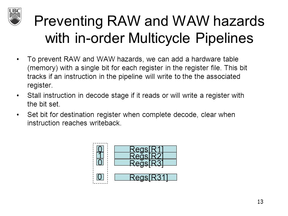 Preventing RAW and WAW hazards with in-order Multicycle Pipelines To prevent RAW and WAW hazards, we can add a hardware table (memory) with a single bit for each register in the register file.
