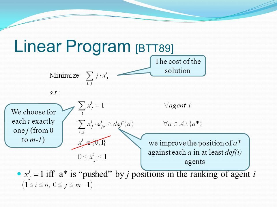 "Linear Program [BTT89] iff a* is ""pushed"" by j positions in the ranking of agent i The cost of the solution We choose for each i exactly one j (from 0"