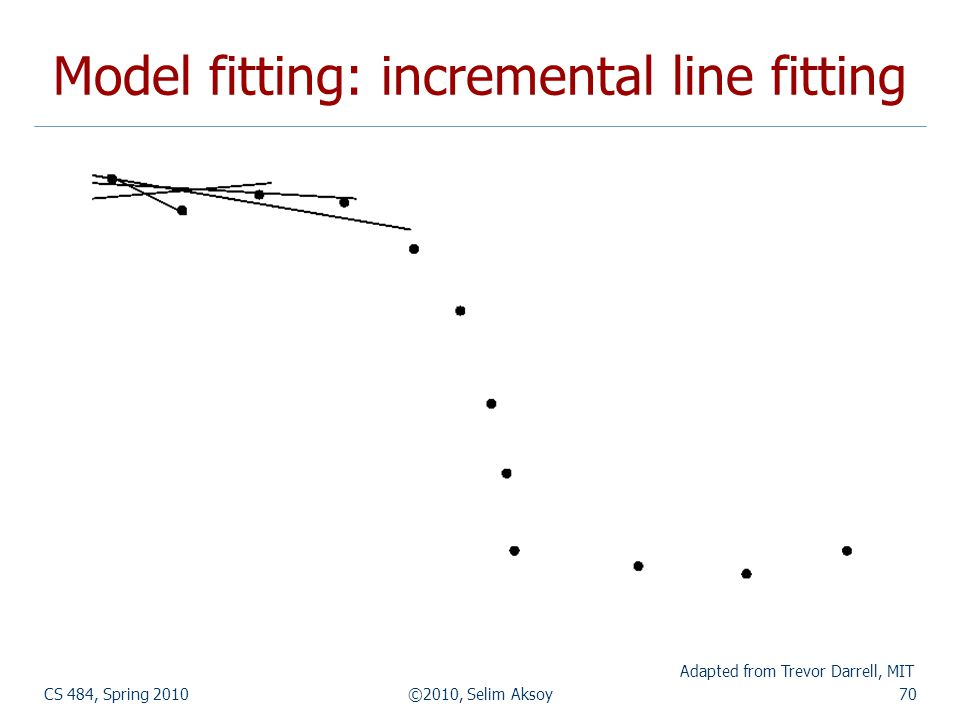 CS 484, Spring 2010©2010, Selim Aksoy70 Model fitting: incremental line fitting Adapted from Trevor Darrell, MIT