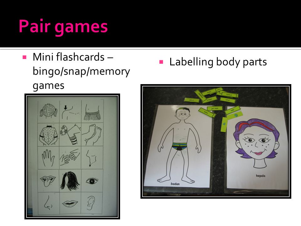  Mini flashcards – bingo/snap/memory games  Labelling body parts