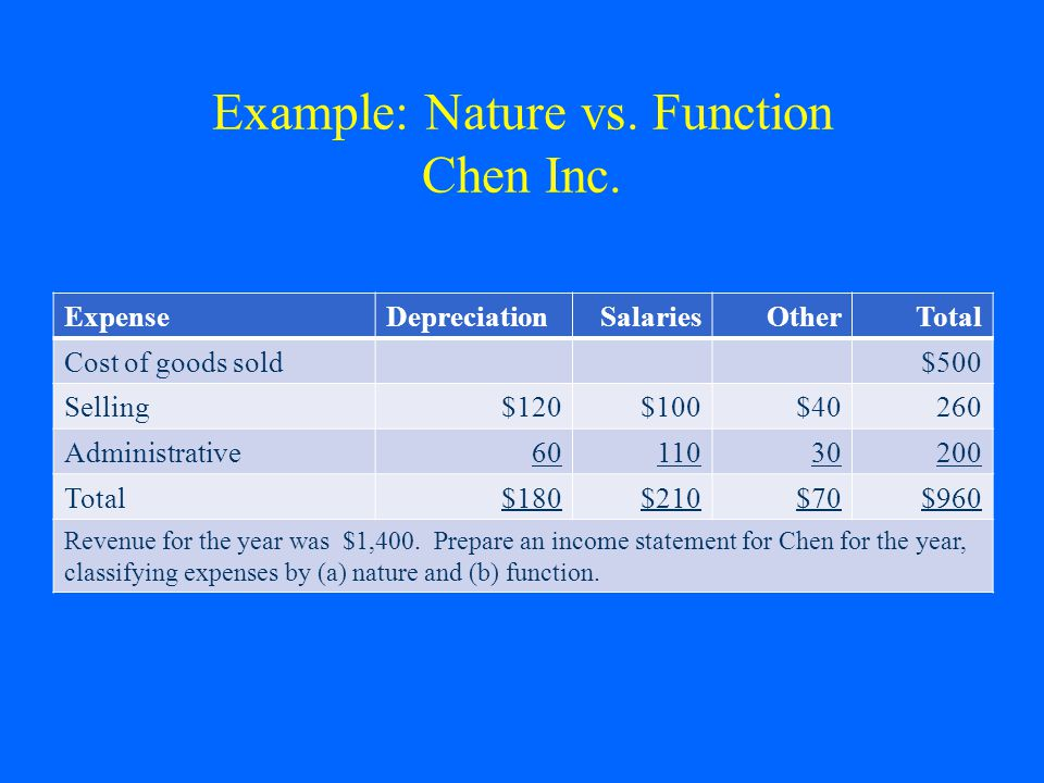 Example: Nature vs. Function Chen Inc. ExpenseDepreciationSalariesOtherTotal Cost of goods sold$500 Selling$120$100$40260 Administrative6011030200 Tot