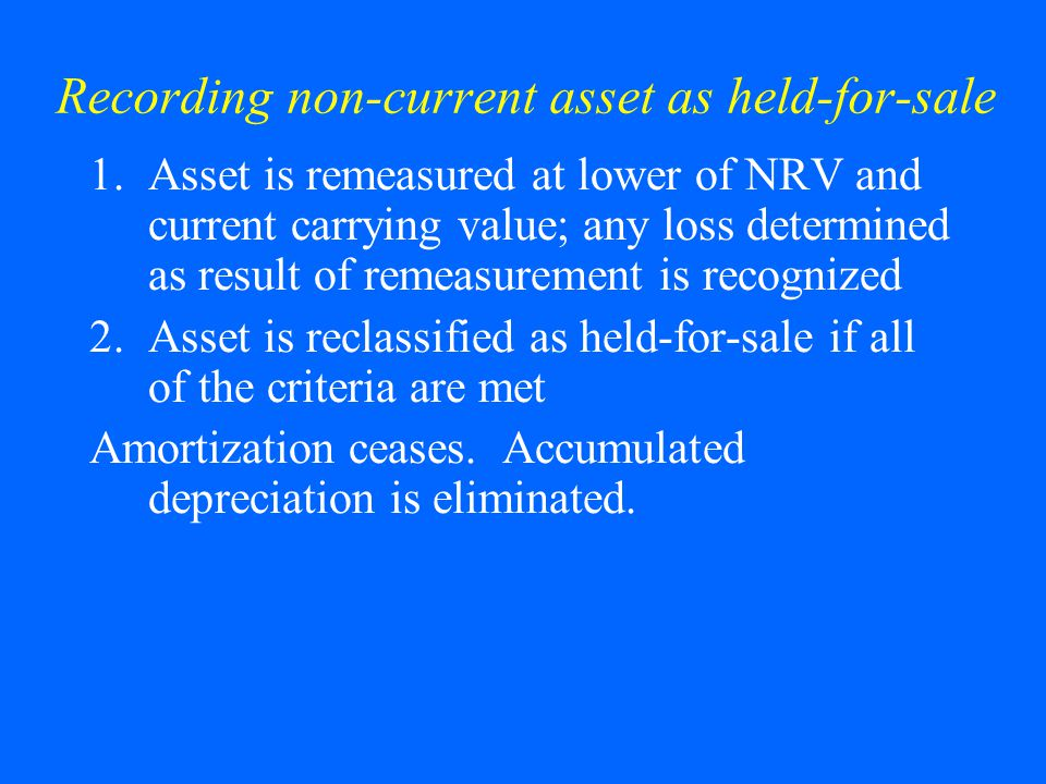 Recording non-current asset as held-for-sale 1.Asset is remeasured at lower of NRV and current carrying value; any loss determined as result of remeas