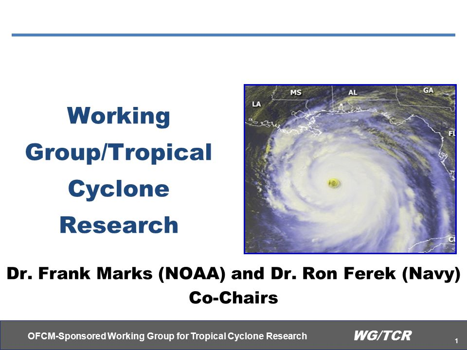 OFCM-Sponsored Working Group for Tropical Cyclone Research 2 WG/TCR Dr.