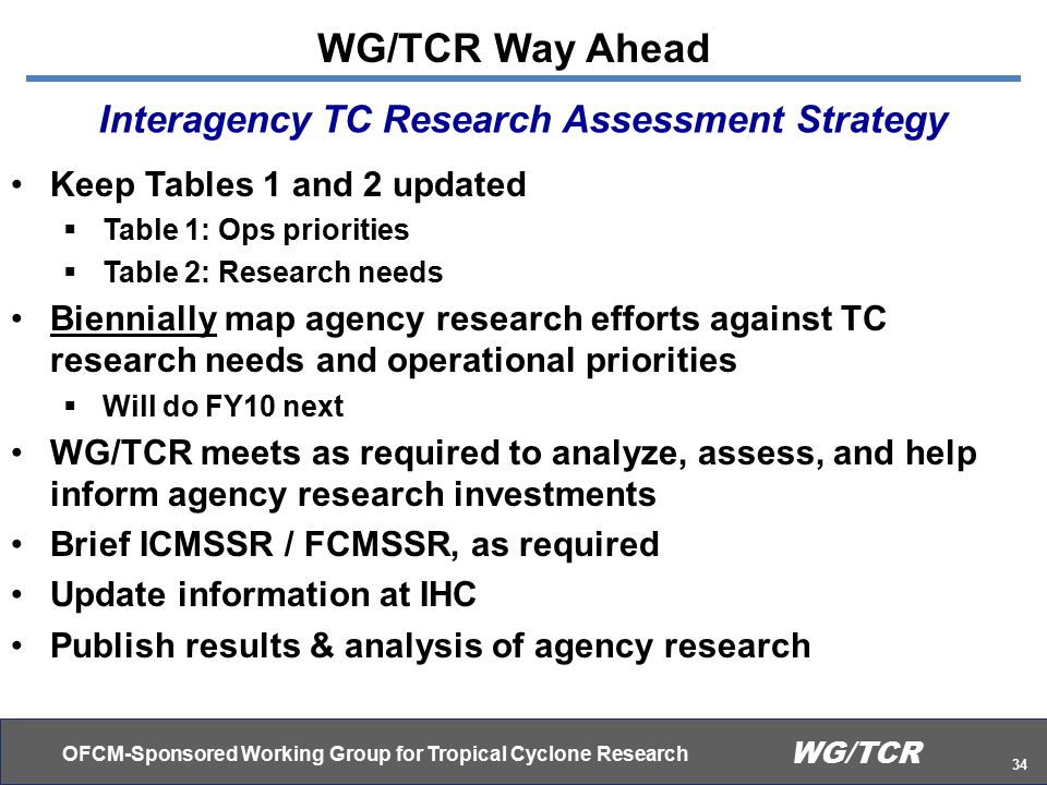 OFCM-Sponsored Working Group for Tropical Cyclone Research 34 WG/TCR Keep Tables 1 and 2 updated  Table 1: Ops priorities  Table 2: Research needs Biennially map agency research efforts against TC research needs and operational priorities  Will do FY10 next WG/TCR meets as required to analyze, assess, and help inform agency research investments Brief ICMSSR / FCMSSR, as required Update information at IHC Publish results & analysis of agency research Interagency TC Research Assessment Strategy WG/TCR Way Ahead