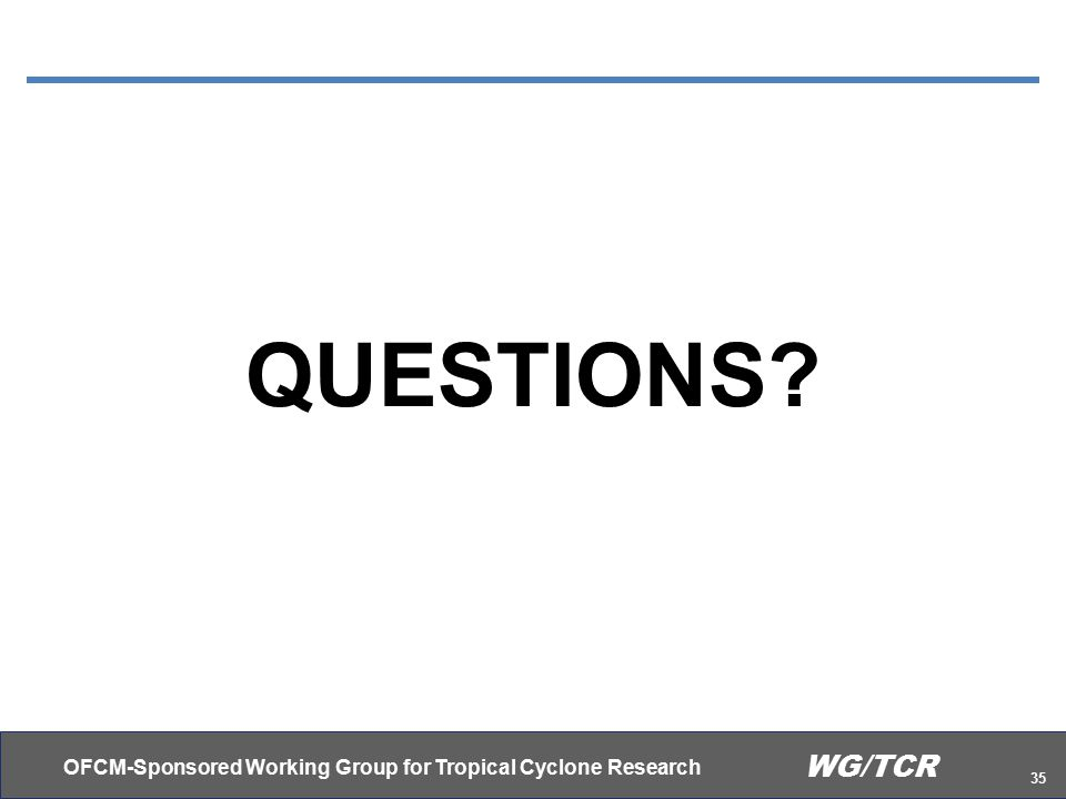 OFCM-Sponsored Working Group for Tropical Cyclone Research 35 WG/TCR QUESTIONS