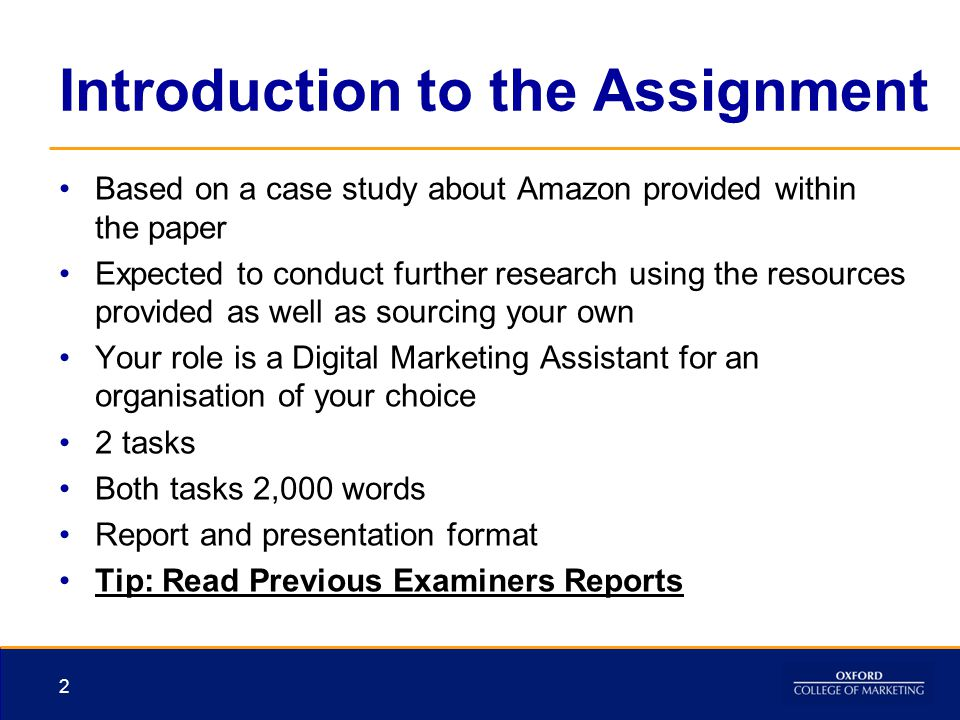 Introduction to the Assignment Based on a case study about Amazon provided within the paper Expected to conduct further research using the resources p