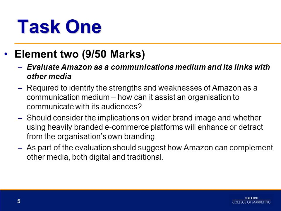 Task One Element two (9/50 Marks) –Evaluate Amazon as a communications medium and its links with other media –Required to identify the strengths and w