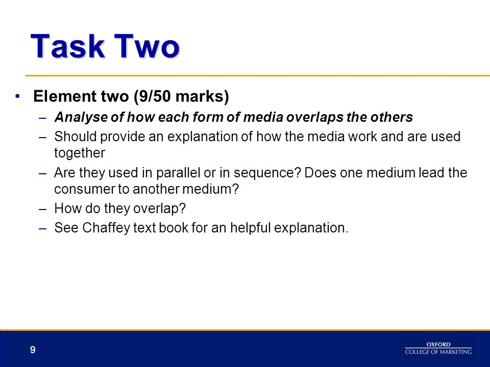Task Two Element two (9/50 marks) –Analyse of how each form of media overlaps the others –Should provide an explanation of how the media work and are