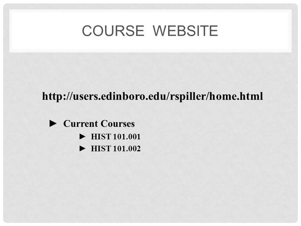 CONTACTING ME Room 119 Hendricks Hall Office Hours on website 732-2966 Calls generally not returned rspiller@edinboro.edu Best way to contact me