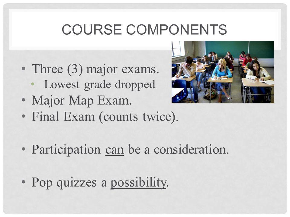GRADE CALCULATION Exam 175% Exam 265% Exam 387% Map Exam84% Final Exam88%