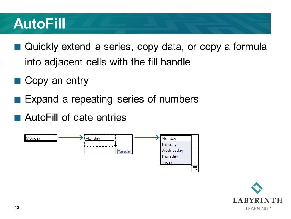 13 AutoFill Quickly extend a series, copy data, or copy a formula into adjacent cells with the fill handle Copy an entry Expand a repeating series of