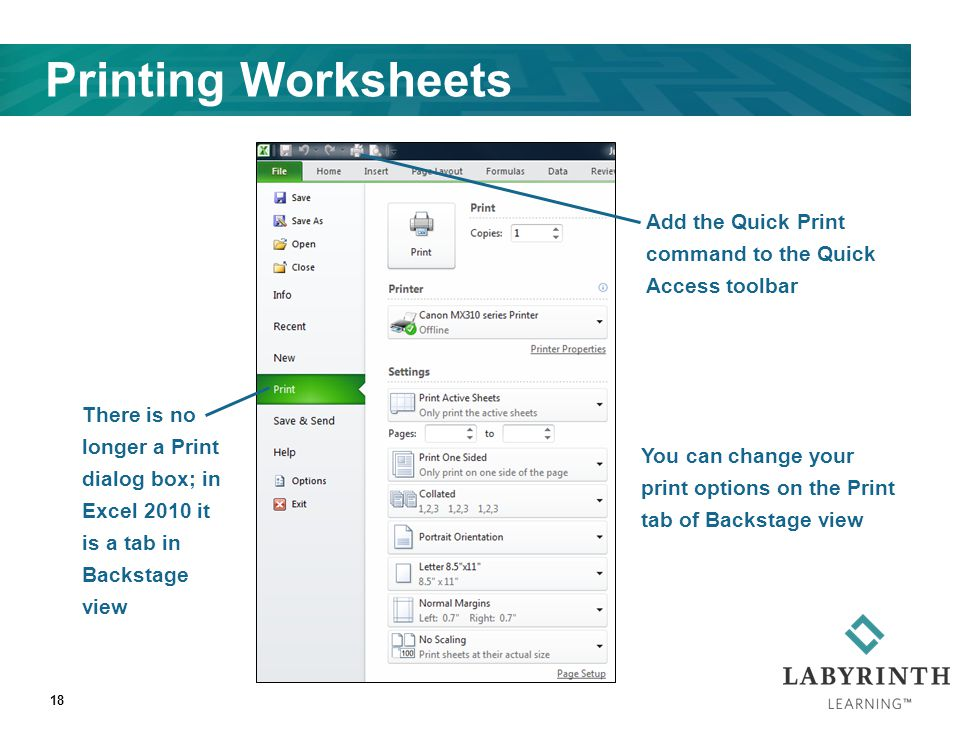 18 Printing Worksheets Add the Quick Print command to the Quick Access toolbar There is no longer a Print dialog box; in Excel 2010 it is a tab in Bac
