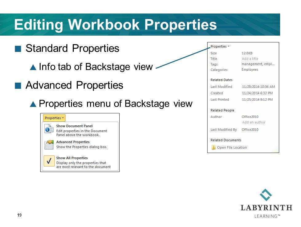 19 Editing Workbook Properties Standard Properties  Info tab of Backstage view Advanced Properties  Properties menu of Backstage view