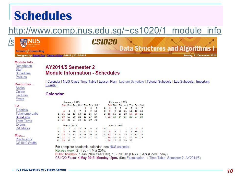 Schedules 10 http://www.comp.nus.edu.sg/~cs1020/1_module_info /sched.html [CS1020 Lecture 0: Course Admin]