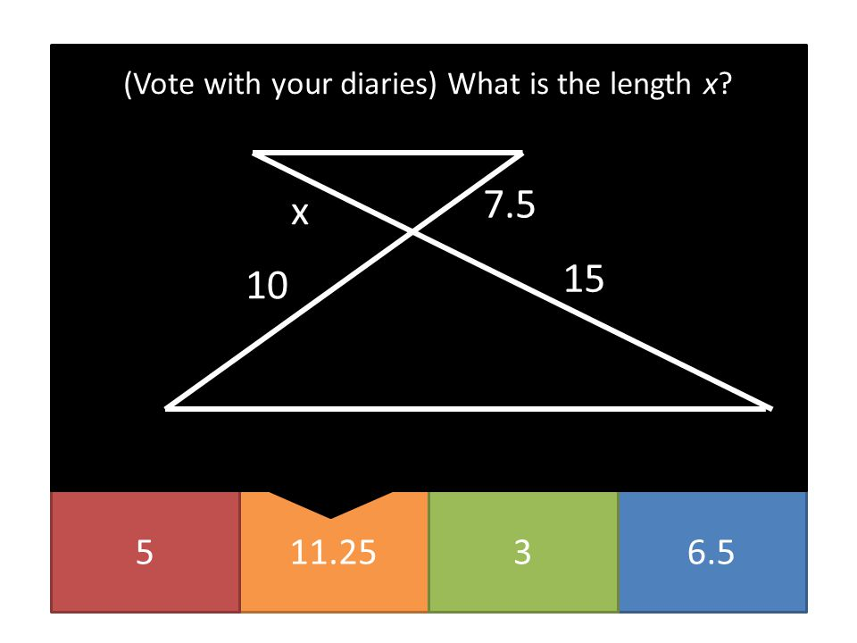 11.2556.53 (Vote with your diaries) What is the length x? x 7.5 10 15