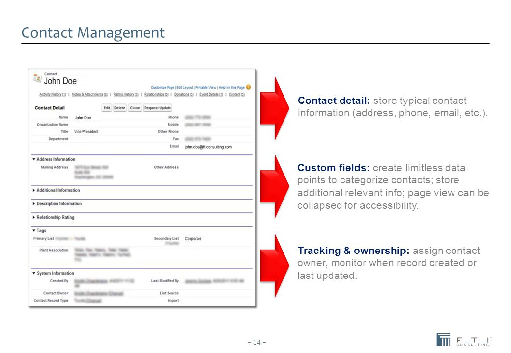 Contact Management Contact detail: store typical contact information (address, phone, email, etc.). Custom fields: create limitless data points to cat