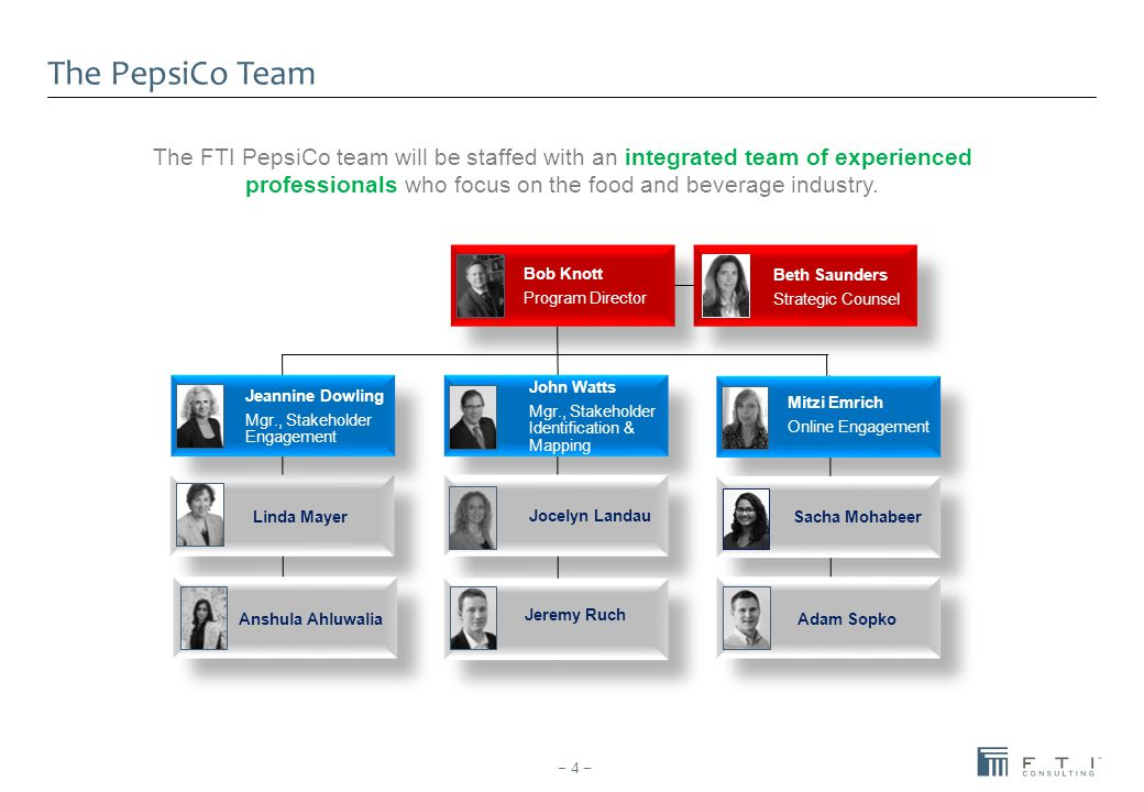 The PepsiCo Team − 4 − The FTI PepsiCo team will be staffed with an integrated team of experienced professionals who focus on the food and beverage in