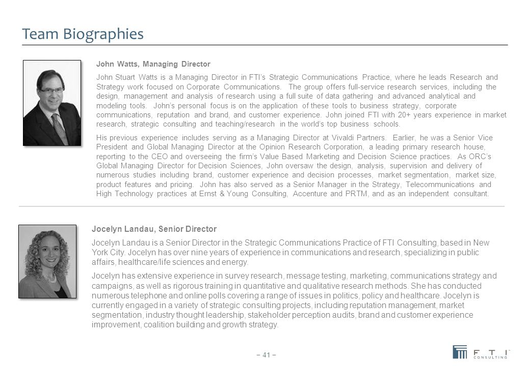 John Watts, Managing Director John Stuart Watts is a Managing Director in FTI's Strategic Communications Practice, where he leads Research and Strateg