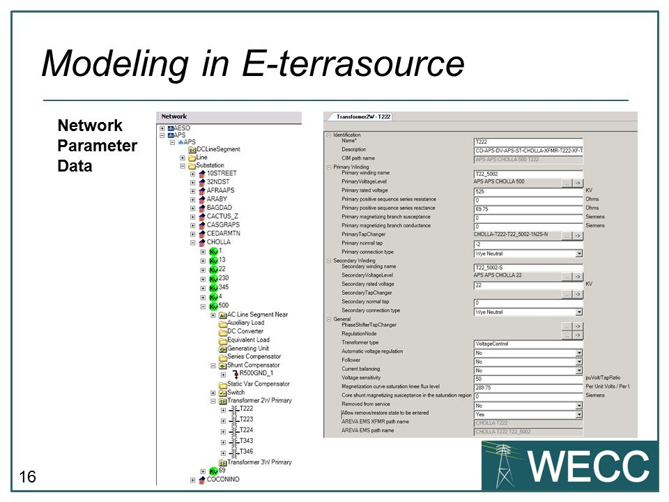16 Modeling in E-terrasource Network Parameter Data