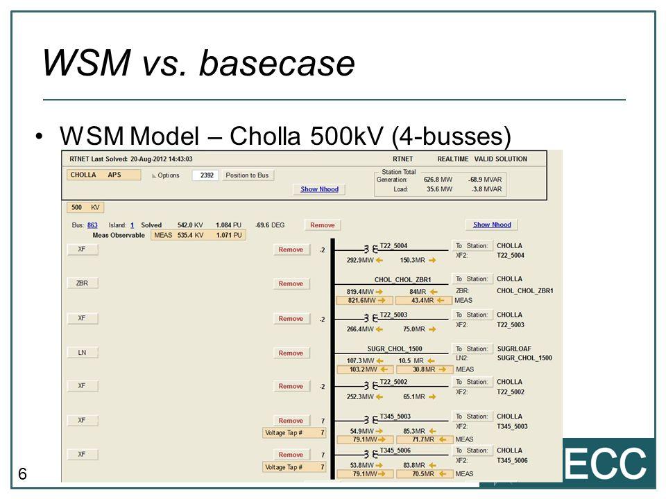 6 WSM vs. basecase WSM Model – Cholla 500kV (4-busses)