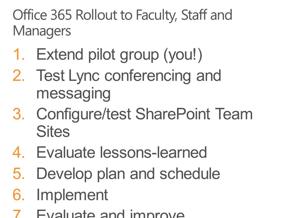 Office 365 Rollout to Faculty, Staff and Managers 1.Extend pilot group (you!) 2.Test Lync conferencing and messaging 3.Configure/test SharePoint Team Sites 4.Evaluate lessons-learned 5.Develop plan and schedule 6.Implement 7.Evaluate and improve