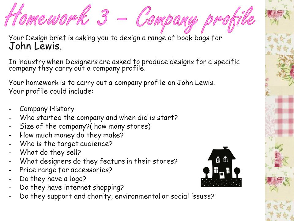 Your Design brief is asking you to design a range of book bags for John Lewis.
