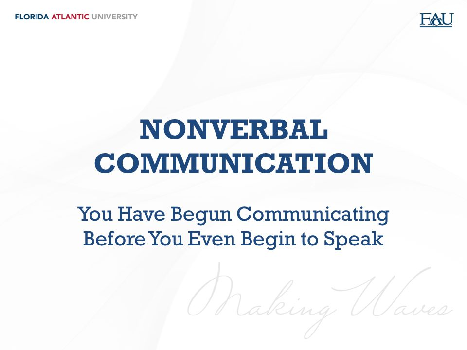 NONVERBAL COMMUNICATION You Have Begun Communicating Before You Even Begin to Speak