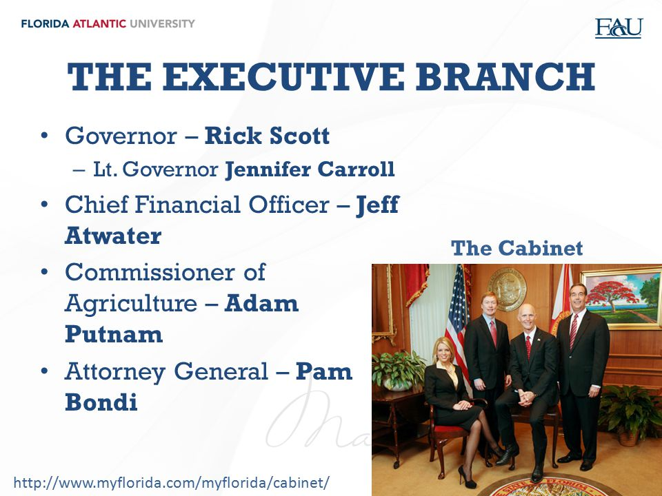 THE EXECUTIVE BRANCH Governor – Rick Scott – Lt. Governor Jennifer Carroll Chief Financial Officer – Jeff Atwater Commissioner of Agriculture – Adam P