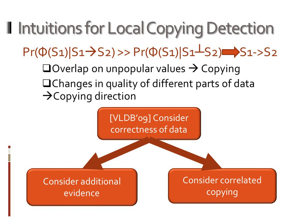 Intuitions for Local Copying Detection Pr(Ф(S1)|S1  S2) >> Pr(Ф(S1)|S1 ┴ S2) S1->S2  Overlap on unpopular values  Copying  Changes in quality of different parts of data  Copying direction [VLDB'09] Consider correctness of data Consider additional evidence Consider correlated copying