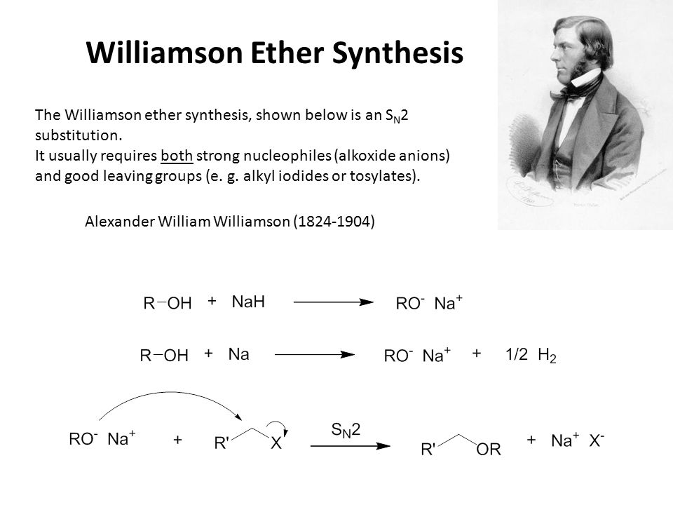 Williamson Ether Synthesis The Williamson ether synthesis, shown below is an S N 2 substitution.