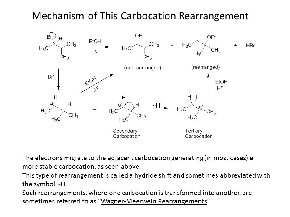 Mechanism of This Carbocation Rearrangement The electrons migrate to the adjacent carbocation generating (in most cases) a more stable carbocation, as seen above.