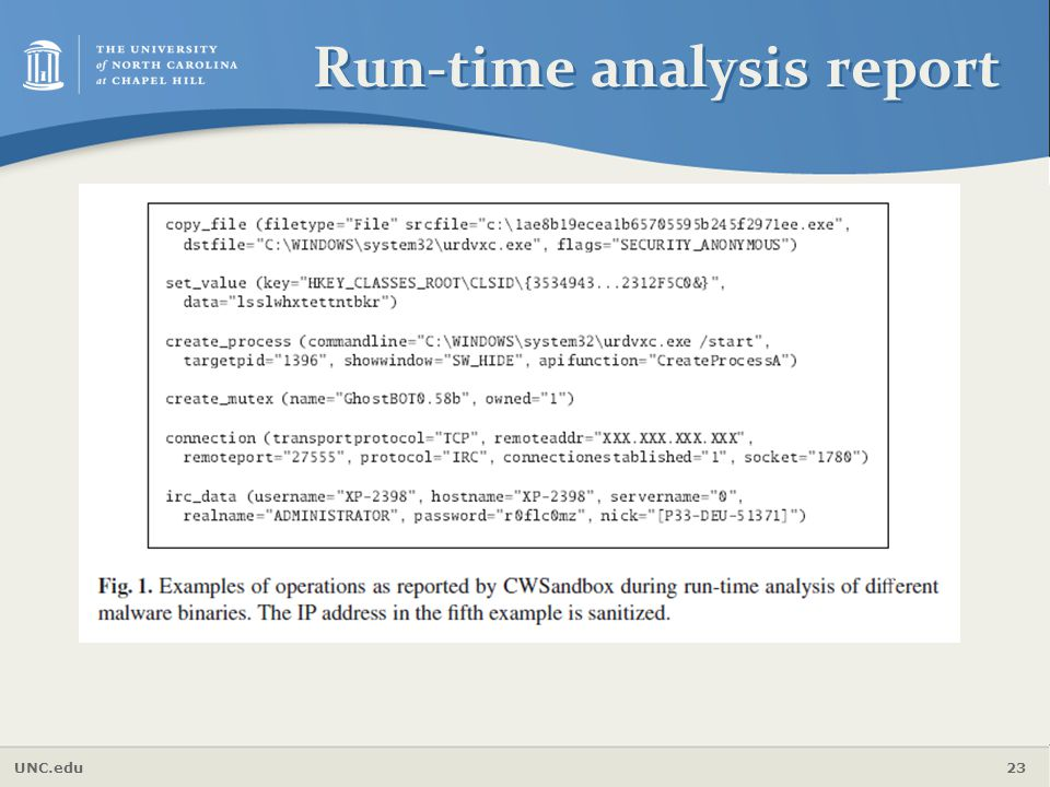 UNC.edu 23 Run-time analysis report