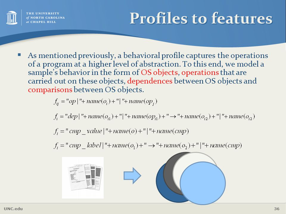 UNC.edu 36 Profiles to features  As mentioned previously, a behavioral profile captures the operations of a program at a higher level of abstraction.