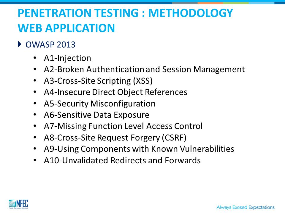 PENETRATION TESTING : METHODOLOGY WEB APPLICATION  OWASP 2013 A1-Injection A2-Broken Authentication and Session Management A3-Cross-Site Scripting (XSS) A4-Insecure Direct Object References A5-Security Misconfiguration A6-Sensitive Data Exposure A7-Missing Function Level Access Control A8-Cross-Site Request Forgery (CSRF) A9-Using Components with Known Vulnerabilities A10-Unvalidated Redirects and Forwards