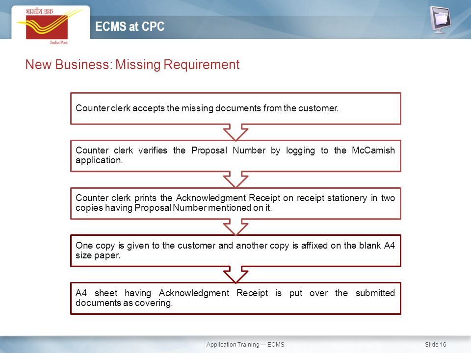 Application Training — ECMS Slide 16 New Business: Missing Requirement ECMS at CPC A4 sheet having Acknowledgment Receipt is put over the submitted do