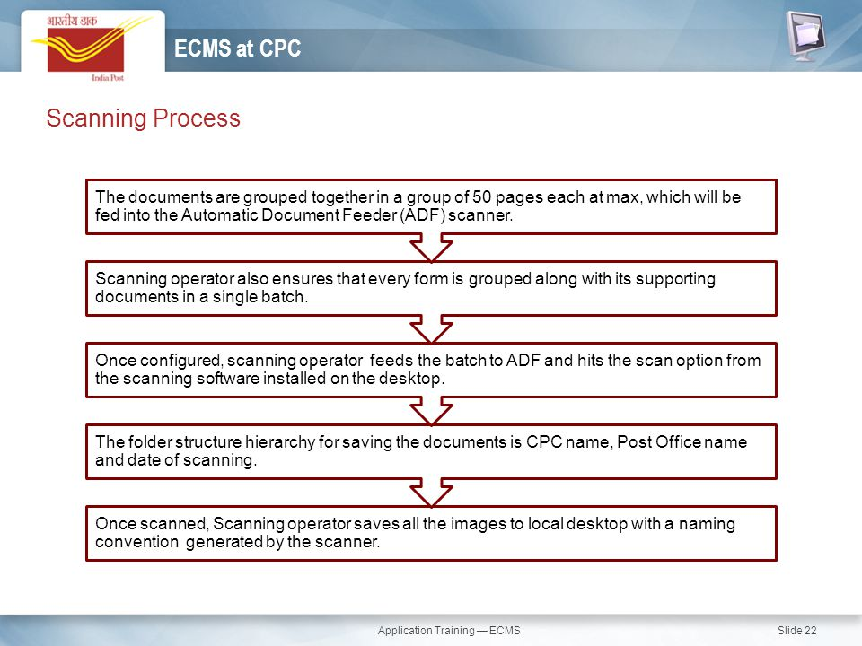 Application Training — ECMS Slide 22 Scanning Process ECMS at CPC Once scanned, Scanning operator saves all the images to local desktop with a naming