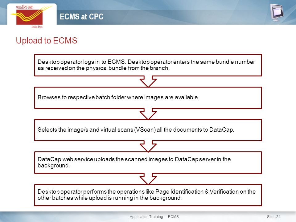 Application Training — ECMS Slide 24 Upload to ECMS ECMS at CPC Desktop operator performs the operations like Page Identification & Verification on th