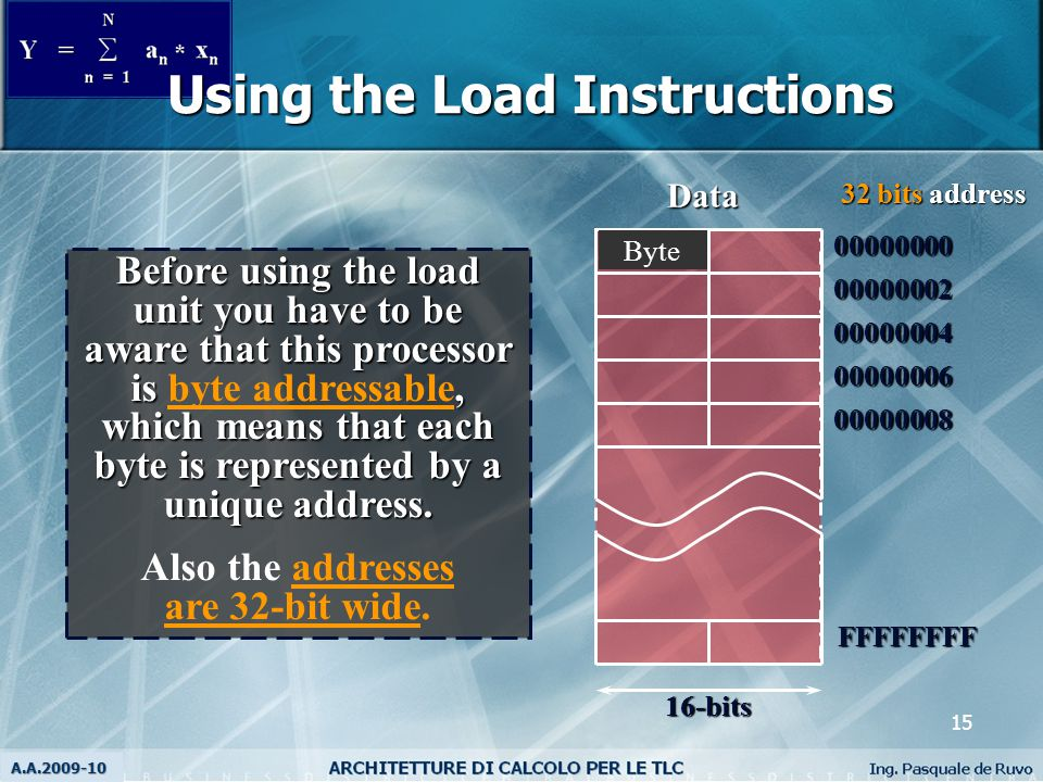 16 The syntax for the load instruction is: Where: Rn is a register that contains the address of the operand to be loaded and Rm is the destination register.