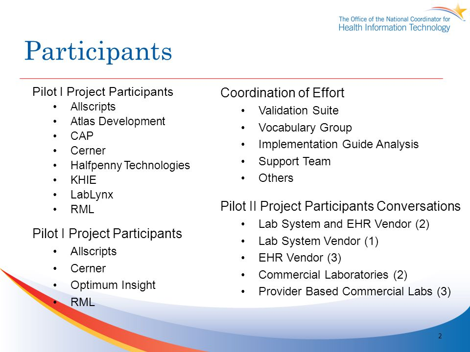 Participants Coordination of Effort Validation Suite Vocabulary Group Implementation Guide Analysis Support Team Others 2 Pilot I Project Participants Allscripts Atlas Development CAP Cerner Halfpenny Technologies KHIE LabLynx RML Pilot II Project Participants Conversations Lab System and EHR Vendor (2) Lab System Vendor (1) EHR Vendor (3) Commercial Laboratories (2) Provider Based Commercial Labs (3) Pilot I Project Participants Allscripts Cerner Optimum Insight RML