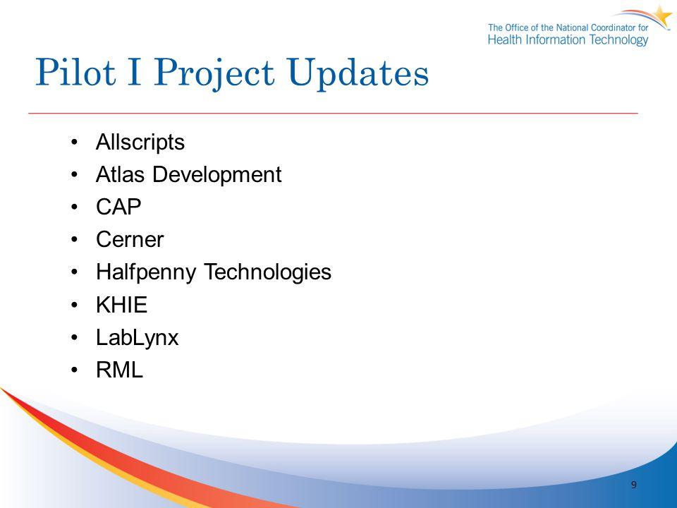 Pilot I Project Updates 9 Allscripts Atlas Development CAP Cerner Halfpenny Technologies KHIE LabLynx RML